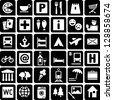 Set of 36 icons for tourist map. - stock