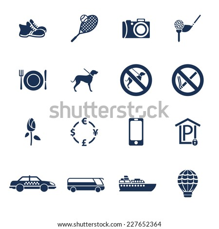 Set of icons for travelling, transportation and leisure in flat style - stock vector
