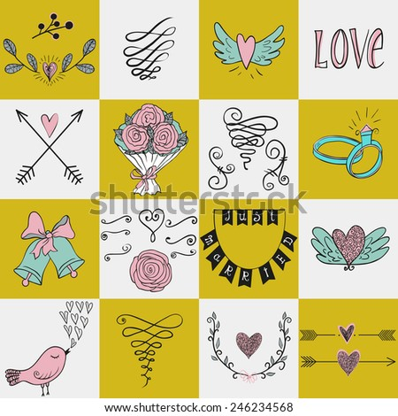 Set of icons for Valentines day, Mothers day, wedding, love and romantic events.  White and yellow backdrop. Used for  wedding invitation, for your design. Design elements in vector. - stock vector