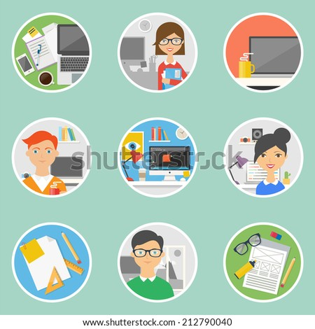 Set of icons for web and business - workplaces with people, flat style - stock vector