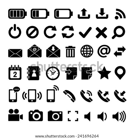 Set of icons for web and mobile : Black
