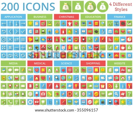 Set of 200 icons for web and mobile. It includes 4 styles for each icon in different layers.
