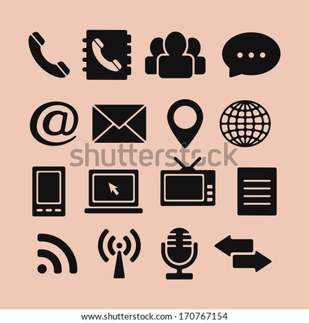 Set of Icons for Web and Mobile, vector - stock vector