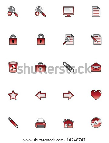 Set of icons for website or interface. Vector illustration. - stock vector