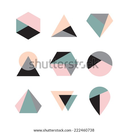 Set of icons, geometric logo - stock vector