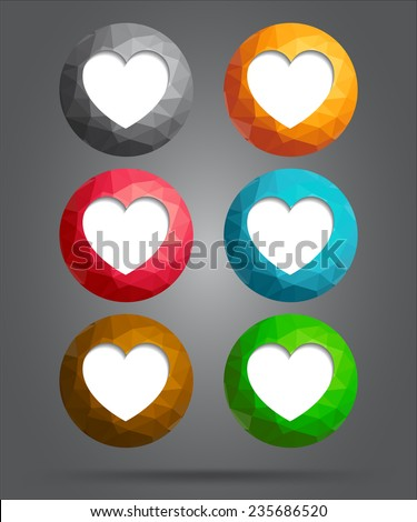 set of icons heart