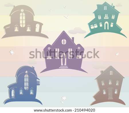 Set of icons houses. Vector illustration. Vintage silhouette