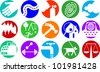 Set of icons illustrating various objects and concepts - stock vector