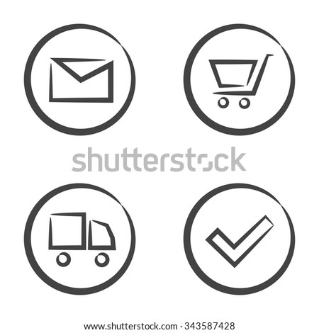 Set of 4 icons in circle isolated on white background: envelope, shopping cart, truck and accept tick. - stock vector