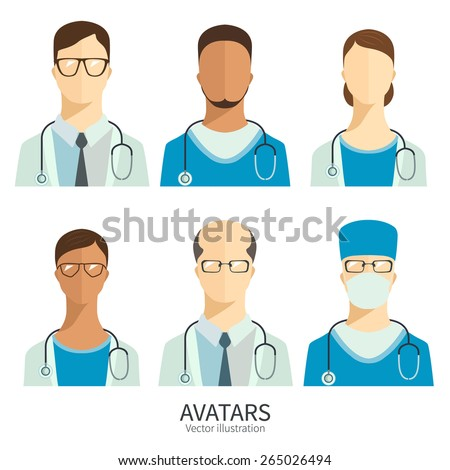 Set of icons in flat style. Doctors and medical staff. - stock vector