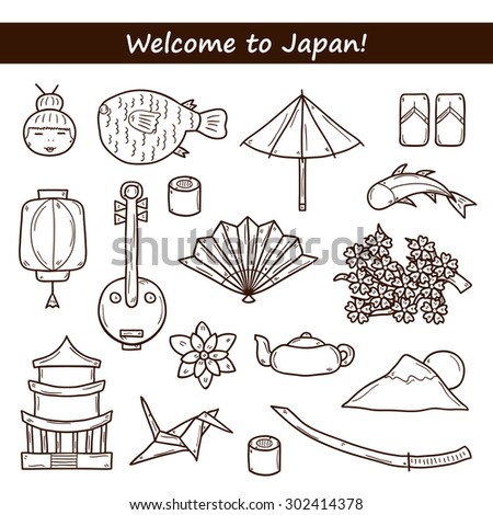 Set of icons in hand drawn outline style on Japan theme: geisha, sword, sushi, sakura, lantern, origami. Travel Japanese concept for your design - stock vector