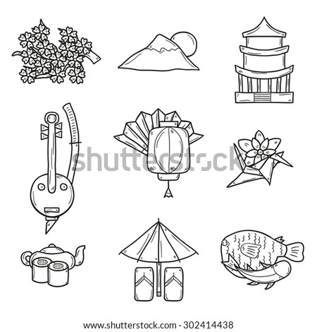 Set of icons in hand drawn outline style on Japan theme: geisha, sword, sushi, sakura, lantern, origami. Travel Japanese consent for your design - stock vector