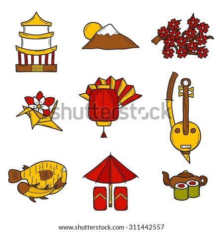 Set of icons in hand drawn style on Japan theme: geisha, sword, sushi, sakura, lantern, origami. Travel japanese consept for your design