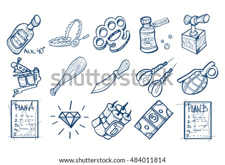Set of icons in the hand drawing style. Outline drawing for coloring.