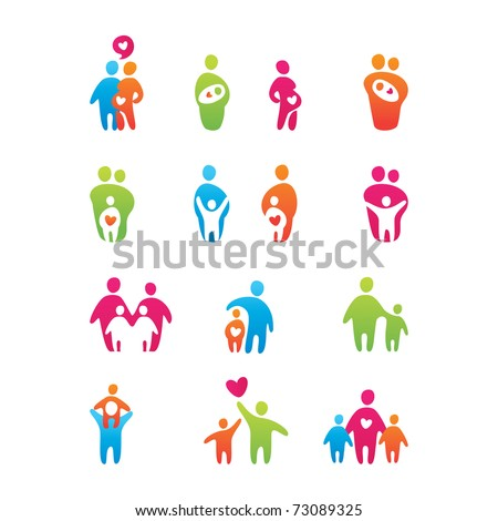 set of icons - kids and parents - stock vector
