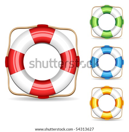 Set of icons lifebuoys different colors