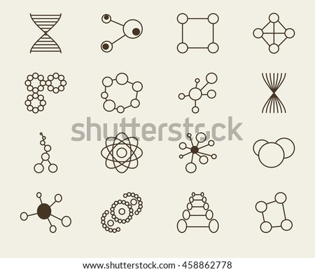 Set of icons molecule theme medicin