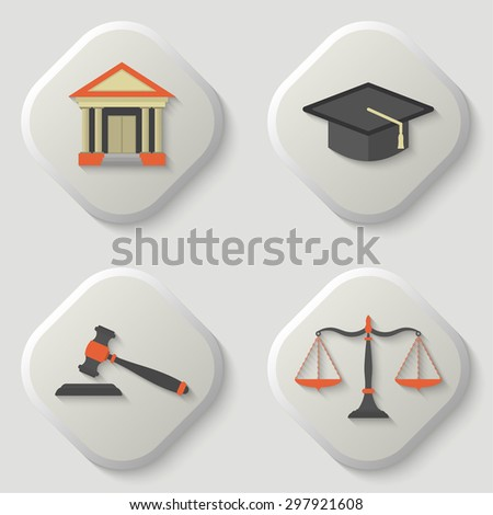 Set of icons of a judicial subject. Judge hat icon. Scales of Justice icon. Weight balance. Gavel icon. Auction hammer. Court house icon. Flat. Vector element of graphic design - stock vector