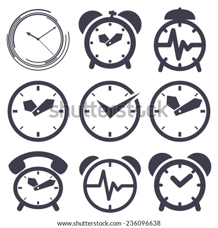 Set of icons of  clocks on white background - stock vector