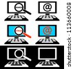 Set of icons of computer monitors on a black and white background. - stock vector