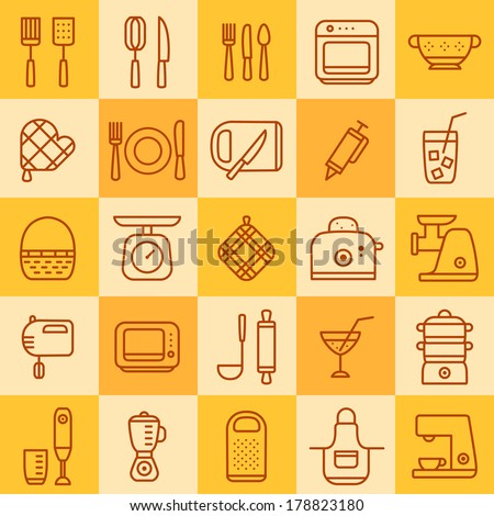 set of icons of different types of cookware on a colored background - stock vector