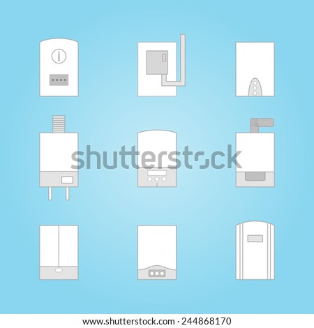 Set Icons Different White Gas Boilers Stock Vector 244868170 ...