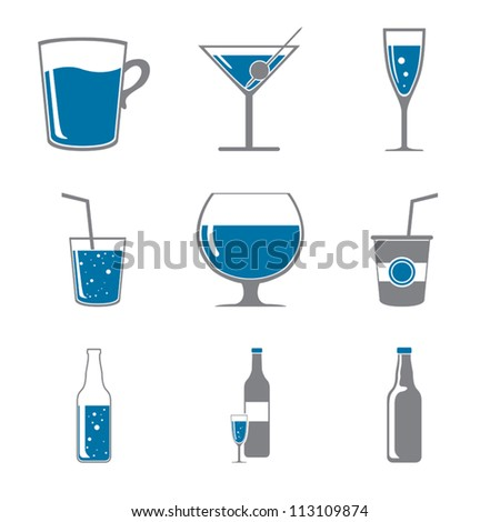Set of icons of drinks gray blue - stock vector