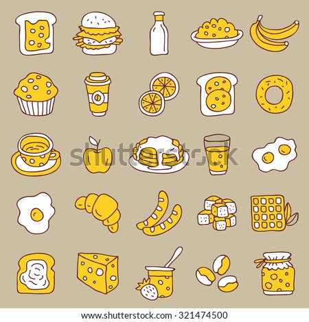 Set of icons of food, breakfast, on a gray background. Vector.