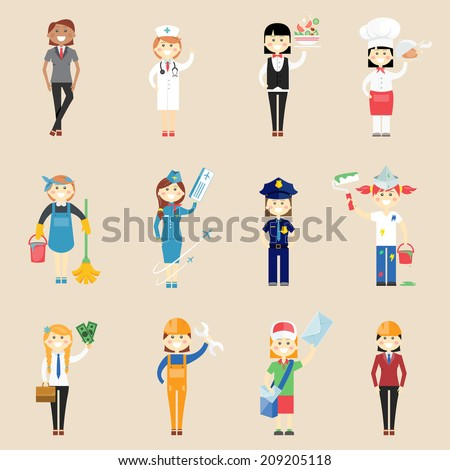 Set of icons of girl characters in professional clothing with a doctor  waitress  cook  chef  cleaner  air hostess  policewoman  painter  architect  engineer  artisan  businesswoman and postwoman - stock vector