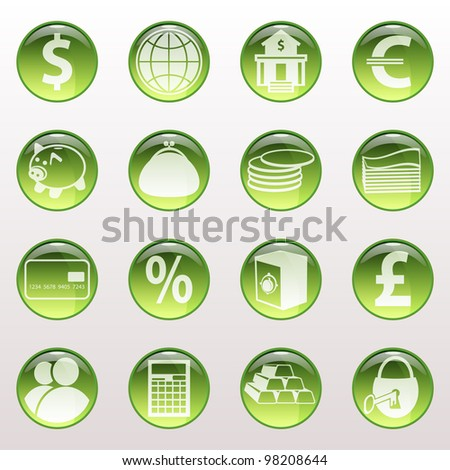 Set of icons of green color on a subject bank. Business and Finance. Grouped for easy editing. Vector images. - stock vector