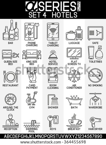 Set of icons of hotel service, EPS 8  - stock vector