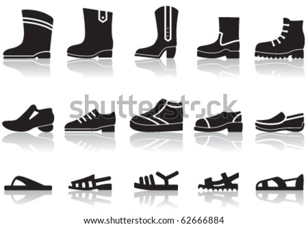 Set of icons of men's shoes - stock vector