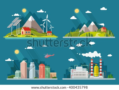 Set of icons of nature for your design. The theme of ecology, industry, city, countryside. Flat style vector illustration. - stock vector