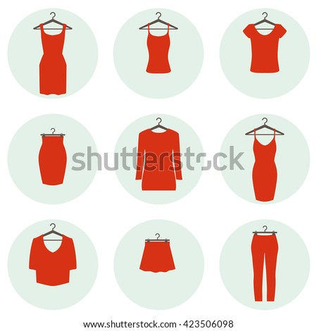 Set of icons of red clothes on hanger for women  - stock vector