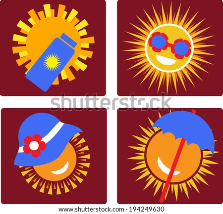 set of 4 icons of sun protection - stock vector