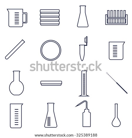 set of icons of tools and glassware for microbiology laboratory work - stock vector
