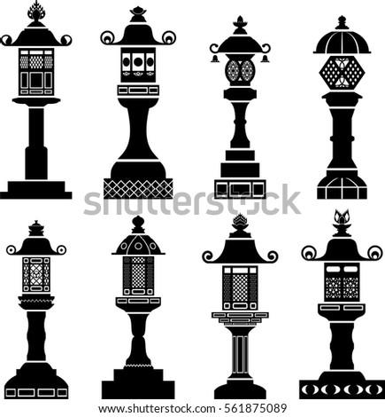 Set Of Icons Traditional Japanese Lanterns Made Metal