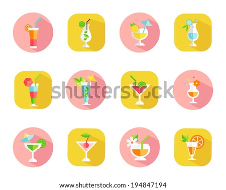 Set of icons of tropical cocktails on colorful web buttons with cocktails in different shaped glasses garnished with a variety of fruit symbolic of a vacation or celebration vector illustration - stock vector