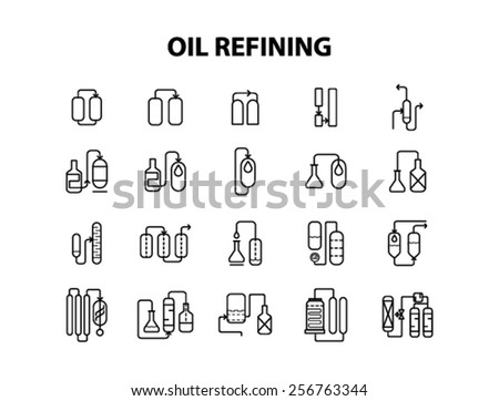 Set of icons, oil refining - stock vector