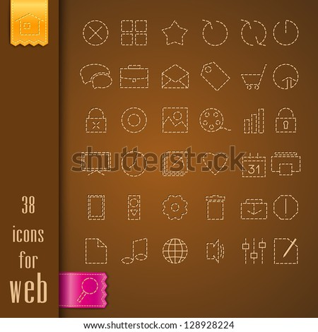 set of icons on a brown fabric - stock vector
