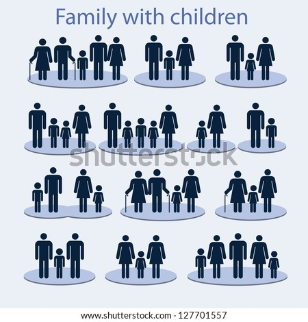 Set of icons on a family with a child.