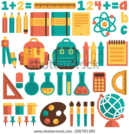 Set of icons on a school theme. Flat design. Vector. - stock vector