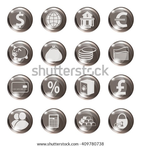 Set of icons on a subject bank. Business and Finance. Grouped for easy editing. Vector images. - stock vector