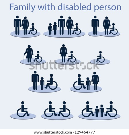 Set of icons on a theme: a family with a invalid person