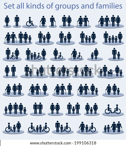 Set of icons on a theme - all kinds of groups and families. - stock vector