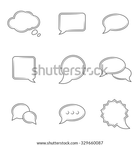 Set of icons on a theme speech bubbles
