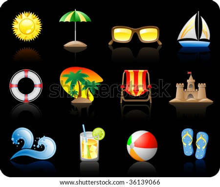 Set of icons on a theme Sun Sea and Beach_black background