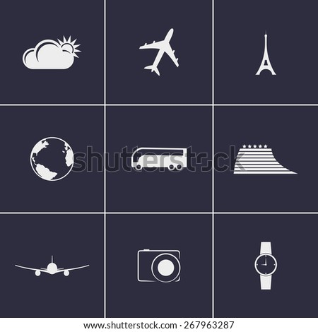 Set of icons on a theme travel