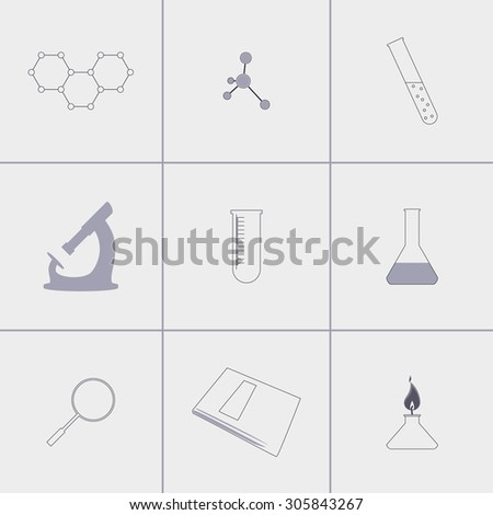 Set of icons on chemistry theme