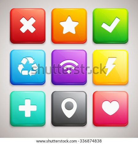 Set of Icons on colorful backgrounds
